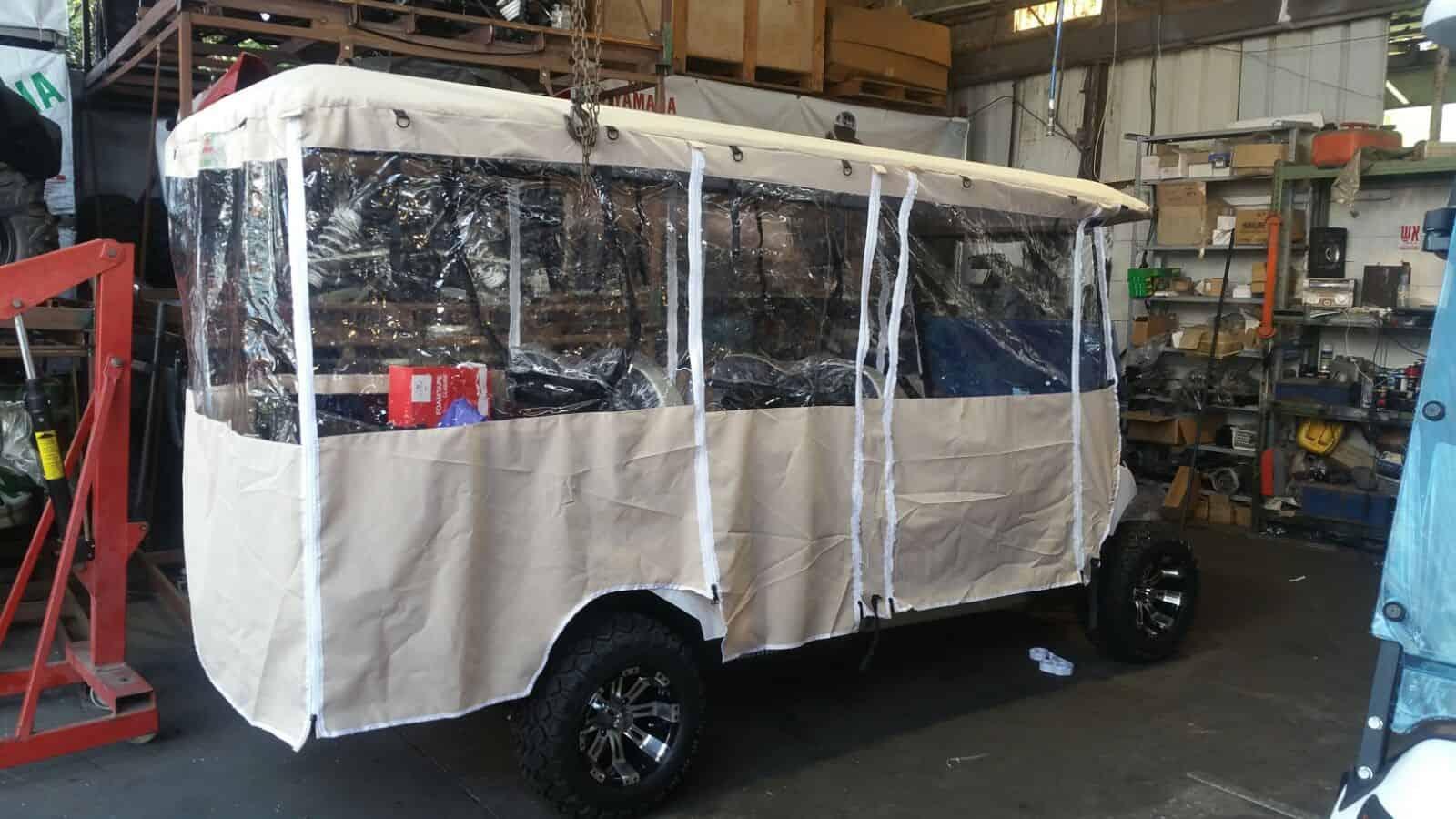 כיסוי ברזנט לרכב תפעולי - גג ארוך 3.5 מ